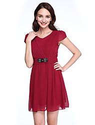 preiswerte -Damen Hülle Kleid-Ausgehen / Übergröße Einfach / Boho Solide Rundhalsausschnitt Übers Knie Kurzarm Blau / Rosa / Rot / Schwarz / Lila