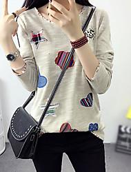 Tee-shirt Femme,Mosaïque Décontracté / Quotidien simple Automne Manches Longues Col Arrondi Beige / Gris Autres Moyen
