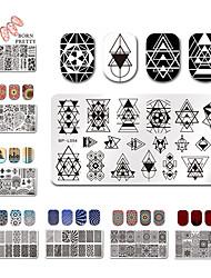 preiswerte -12 * 6cm Rechteck Nagelprägeplatten Vorlage schönes Design Maniküre Nagelkunst Stempel Bildplattensatz