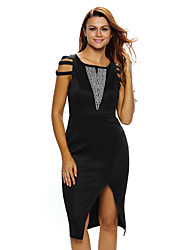 Dámské Sexy Klub Bodycon Šaty Jednobarevné,Bez rukávů Tričkový Délka ke kolenům Černá Polyester / Spandex Léto High Rise Elastické Tenké