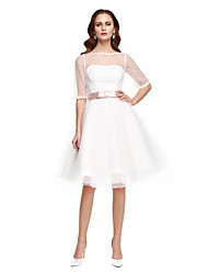 A-line Wedding Dress Little White Dress Knee-length Bateau Tulle with Sash / Ribbon