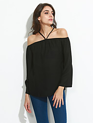 cheap -Women's Off The Shoulder Going out / Daily Sexy / Street chic Summer / Fall BlouseSolid Halter Long Sleeve Blue / Red / Black