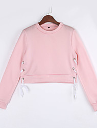 Women's Casual/Daily Sexy / Simple Short HoodiesSolid Slim Hollow Out Round Neck Long Sleeve  Micro-elastic