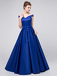 Ball Gown Off-the-shoulder Floor Length Satin Bridesmaid Dress with Pleats by Lovingtime