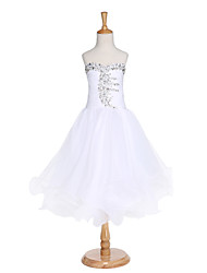 cheap -Ball Gown Tea Length Flower Girl Dress - Organza Sleeveless Sweetheart with Beading Draping Bandage by LAN TING BRIDE®
