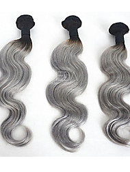 3Pcs/Lot Brazilian Virgin Human Hair Ombre Silver Gray Hair Extensions Ombre Two Tone Hair Grey Hair Weaves