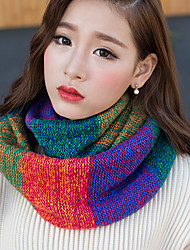 cheap -Women Winter Mosaic Color Multicolored Rainbow Wool Knit Scarf Thickening Warm Neckerchief