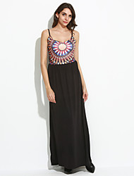 Women's Casual/Daily Boho Loose DressGeometric Strap Maxi Sleeveless Black Polyester Summer /