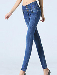 Sign the main push Korean waist jeans female breasted Slim was thin pencil pants feet trousers 8726