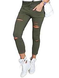preiswerte -Damen Retro Sexy Street Schick Mittlere Hüfthöhe Mikro-elastisch Eng Chinos Hose, Polyester Frühling Herbst Solide