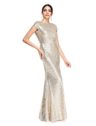 cheap -Mermaid / Trumpet Scoop Neck Floor Length Sequined Mother of the Bride Dress with Sequins by LAN TING BRIDE®
