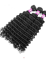 cheap -Brazilian Hair Deep Wave Virgin Human Hair Natural Color Hair Weaves 4 Bundles Human Hair Weaves Soft Human Hair Extensions