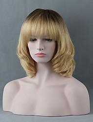 Donna Parrucche senza cappuccio per capelli umani Nero jet Media Auburn Giallo Media Auburn / Bleach Blonde Beige Biondo // Bleach Blonde