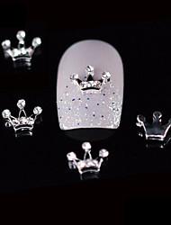 10pcs beleza coroa 3d design de unhas liga strass diy unha arte decoração