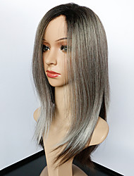 preiswerte -Synthetische Perücken Glatt Stil Kappenlos Perücke Grau Schwarzgrau Synthetische Haare Damen Gefärbte Haarspitzen (Ombré Hair) / Afro-amerikanische Perücke Grau Perücke Mittlerer Länge Natürliche