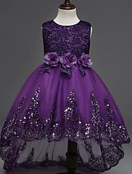 princesse asymétrique robe de fille fleur - coton sans manche en coton avec applique par ydn