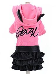 Chien Pulls à capuche Robe Vêtements pour Chien Mignon Garder au chaud Mode Lettre et chiffre Jaune Rose Costume Pour les animaux