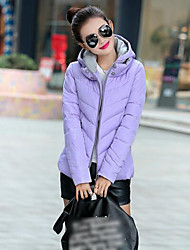 Women's Color Block Thicken Warm Plus Size Padded Coat,Street chic Hooded Long Sleeve