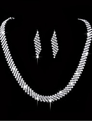 cheap -Women's Rhinestone Silver Plated Jewelry Set 1 Necklace 1 Pair of Earrings - For Wedding Party