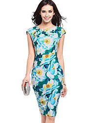 Women's Going out / Casual/Daily Vintage / Street chic Slim Hin Thin Large Size Sheath DressFloral Round Neck Knee-length Sleeveless