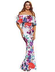 Mujer Recto Vestido Playa / Vacaciones Boho,Arco iris Escote Barco Maxi Manga Corta Multicolor Poliéster / Licra Verano Tiro Alto Elástico