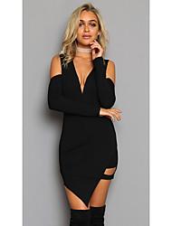 cheap -Women's Club Modern / Contemporary A Line Dress Black, Modern Style High Waist Asymmetrical Deep V