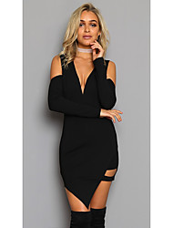 Women's Party/ Evening Club Modern/Contemporary A Line Dress,Sexy Deep V Asymmetrical Long Sleeves N/A Summer High Waist Stretchy Medium