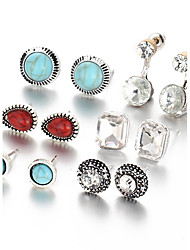 6 PCS/Set New 2017 Vinatge Silver Color Crystal Water Drop Stud Earrings For Women Turquoise Punk Accessories Party Jewelry