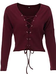 Standard Pullover Da donna-Per uscire Casual Formali Sensuale Tinta unita Rosso Nero Marrone Verde A V Manica lunga Cotone Autunno Inverno