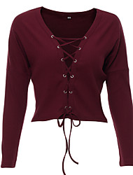 preiswerte -Damen Langarm Pullover-Solide V-Ausschnitt