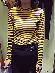 2016 Hitz Korean wild round neck long-sleeved striped knit T-shirt bottoming shirt