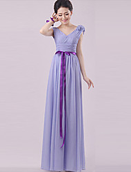 Column Strapless Halter One Shoulder V-neck Sweetheart Straps Floor Length Chiffon Bridesmaid Dress by Yaying