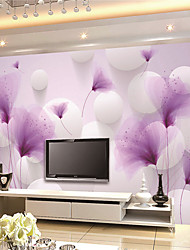 JAMMORY Art DecoWallpaper For Home Wall Covering Canvas Adhesive required Mural Purple Flower XL XXL XXXL