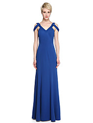Sheath / Column V-neck Floor Length Jersey Bridesmaid Dress with Pleats by LAN TING BRIDE®