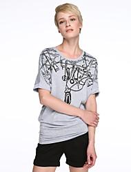 Women's Casual/Daily Simple / Street chic T-shirt,Print Round Neck ½ Length Sleeve White / Black / Brown / Gray Cotton Medium