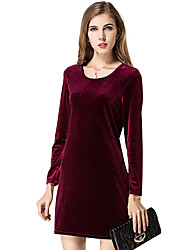 Women's Velvet Casual/Daily / Work Sexy / Street chic A Line Dress,Solid Round Neck Above Knee Long Sleeve Blue / Red / Black / Green Polyester