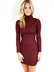 Gaine Robe Femme Sortie Sexy,Couleur Pleine Col Roulé Au dessus du genou Manches Longues Rouge / Vert Polyester Automne / HiverTaille