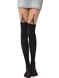cheap -Thigh High Socks Socks / Long Stockings Classic Lolita Dress Lolita See Through Women's Lolita Accessories Print Eiffel Tower Stockings