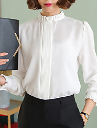 Women's Casual/Daily Formal Work Simple Spring Fall Blouse,Solid Stand Long Sleeve White Black Green Multi-color Cotton Rayon Thin
