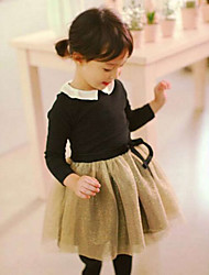 cheap -Girl's Daily Patchwork Dress,Cotton Spring Fall Long Sleeve Lace Black Blue