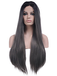 Heat Resistant Synthetic Lace Front Wigs Long Straight Hair New Grey Color Synthetic Hair Fiber Wig With Adjustable Straps Back
