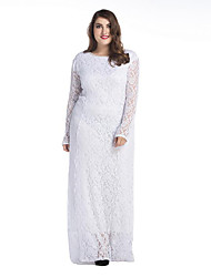 SWEET CURVE Women's Lace Plus Size Simple Lace Dress,Solid Round Neck Maxi Long Sleeve White Black Polyester Spring Mid Rise Micro-elastic Medium