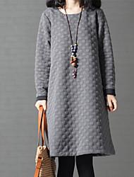 Tubino Vestito Da donna-Casual Moda città A pois Rotonda Sopra il ginocchio Manica lunga Cotone Autunno Inverno A vita medio-alta Media