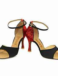 cheap -Women's Latin Salsa Sparkling Glitter Silk Sandal Heel Performance Professional Buckle Ribbon Tie Customized Heel Gold Black Silver Red
