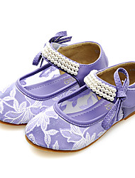 Girls' Flats Comfort Tulle Spring Summer Fall Casual Dress Party & Evening Comfort Beading Pearl Flat Heel Purple Flat