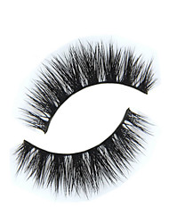 cheap -1 Pair Black Handmade False Eyelashes Full Strip Lashes Longer Extended Lifted Animal Wool Band 0.15mm 12mm