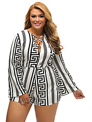cheap -Women's Lace up Plus Multicolor Zigzag Print Deep V Lace-up Long Sleeve Playsuit