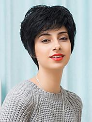 ultimo leggermente tessitura breve senza cappuccio parrucche naturale dei capelli umani ondulati