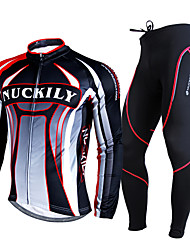 cheap -Nuckily Cycling Jersey with Tights Men's Long Sleeves Bike Clothing Suits Thermal / Warm Breathable 3D Pad Comfortable Polyester Fleece