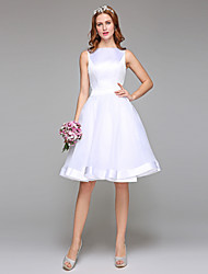 cheap -A-Line Bateau Neck Knee Length Organza Satin Wedding Dress with Sash / Ribbon Bow by LAN TING BRIDE®